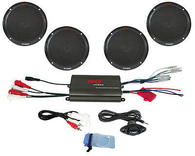 Pyle Marine Receiver Speaker Kit - 4-Channel Amplifier w/ 6.