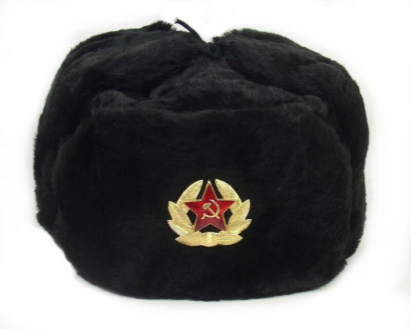 Hat Russian Soviet Army KGB  Military Cossack Ushanka BLACK
