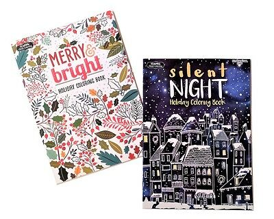 Merry & Bright Silent Night Adult Coloring Books Holiday Christmas Book Set of 2 - Christmas Coloring Books