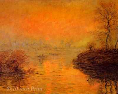 Sunrise on the Seine Lavacourt Winter Effect by Claude Monet - 8x10 Print 1484