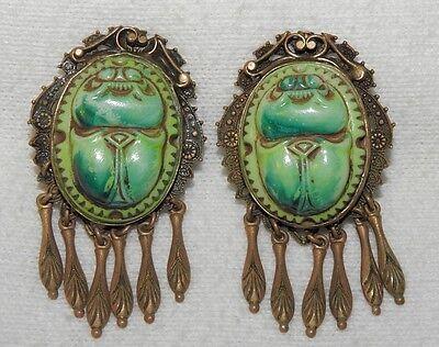 Antique Art Nouveau Celluloid Scarab Earrings Turquoise Green