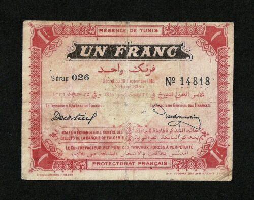 TUNISIA 1 FRANC 1918 P-40 F-VF