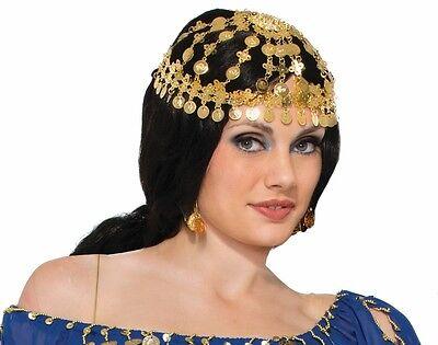 Arabian Princess Coin Headpiece Gypsy Egyptian Belly Dancer Harem Gold Tone - Gold Egyptian Headpiece
