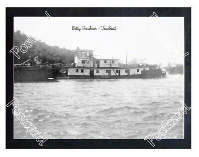Historic Betty Gardner Towboat Steamboat Postcard