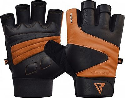 RDX Gym Gloves Weight Lifting Training Fitness Workout Cow Leather Tan Large