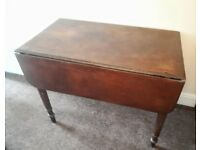 Antique Vintage Victorian Mahogany Table with Drop Leaf Sides