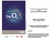 2 NICK CAVE & BAD SEEDS STANDING TICKETS LONDON O2 ARENA 30/9