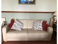 Comfortable white leather sofa