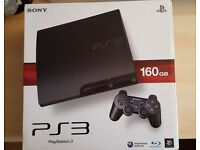 PS3 160GB Slim Black Boxed with games, brand new dualshock controller and headset