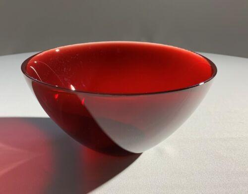 ORREFORS Ruby Red LARGE Swedish Art Glass FUGA Bowl Sven Palmqvist 1960's