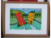 'Squinty houses' by Serena - original painting