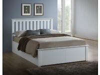 🚚🚛WHITE WOODEN BED 🚚🚛BRAND NEW DOUBLE SIZE SOLID WOODEN OTTOMAN STORAGE BED FRAME