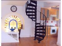 One double bedroom maisonette flat. Wooden floors and spiral staircase.