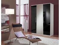 Range of BRAND NEW High Gloss Black & Matt White Wardrobes For Sale 2 door, 3 door, mirrors, drawers