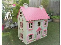 large GORGEOUS wooden DOLLS HOUSE with FURNITURE & PEOPLE,figures,dolls,pink,wood,3 storey