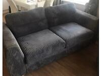 DFS Grey 3 Seater Sofa with Footstool