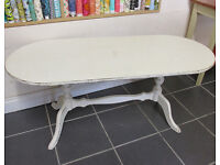 Large Shabby Chic Coffee Table with curved ends and elegant legs