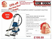 Draper 75442 VALETING Machine 20L 1500W WET DRY SHAMPOO CARPET CLEANER upholstery MACHINE