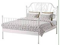 White Ikea double bed with mattress