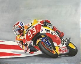 Marc Marquez. Oil on canvas signed by artist David Tarrant