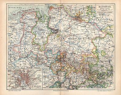 Provinz HANNOVER Lüneburg Oldenburg historische  LANDKARTE  1895
