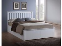 🔥💖FREE & FAST DELIVERY🔥Brand New Malmo Oak Or White Chunky Wooden Ottoman Storage Bed Double/King