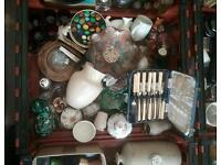 7 bread crates, market, ebay, stock mailing, staffordshire, carnival glass, silver cutlery.