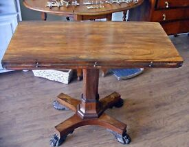 English, Circa 1820. Rosewood Card Table