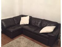 Corner sofa bed -leather - perfect condition