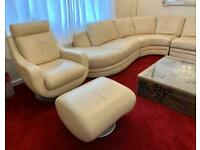 Leather L-shape corner sofa with matching armchair and footstool