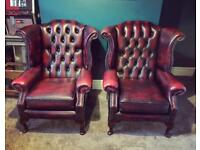 Red chesterfield arm chair sofa couch genuine real leather original living room dining brown green