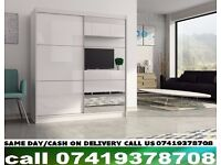 FEWER Sliding Two Door High Gloss Black/White Wardrobe