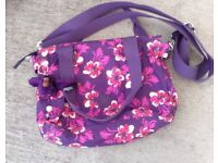 Kipling purple floral bag. As new condition