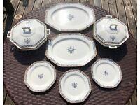 Vintage Wood & Sons Woods Ware Bone China Dining Set 7 Tureens Platters Plates