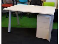 White angled leg desk pedestal cheap harlow office furniture