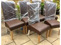 Six Brown Leather Dining Chairs, New & Boxed