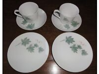 Vintage 60s Noritake Wild Ivy Bone China Tea/Coffee set, 2 cups, saucers, side plates.
