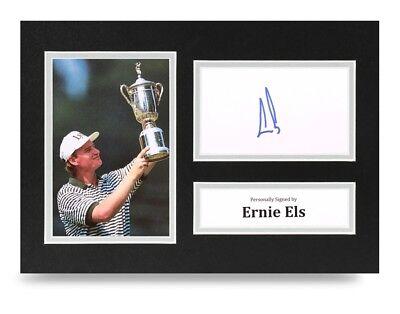 Ernie Els Signed A4 Photo Display U.S. Open Golf Autograph Memorabilia + COA