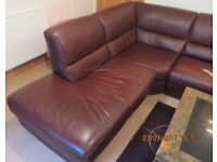 Leather Italian Suite 2 Armchairs & L Shape Sofa