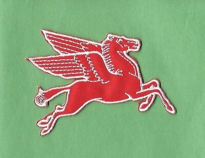 New Mobil  Pegasus Right 3 X 3 1 2 Inch  Iron On Patch Free Shipping