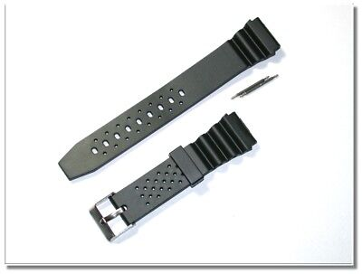 atmungsaktives Silikonuhrenarmband, schwarz, 20mm Breit, 2-5mm Dick, (2063)