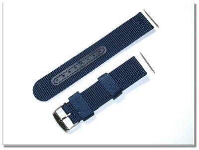 Texil - Jeans-Blau Uhrenarmband, verstärkt, 22mm breit, 3mm dick, (2158)