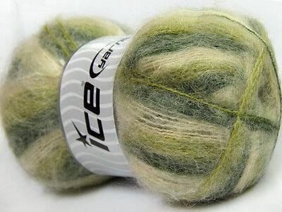 Lot of 4 x 100gr Skeins Ice Yarns BERMUDA MOHAIR (70% Mohair) Yarn Green Shad...