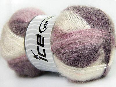 Lot of 4 x 100gr Skeins Ice Yarns BERMUDA MOHAIR (70% Mohair) Yarn Purple Lil...
