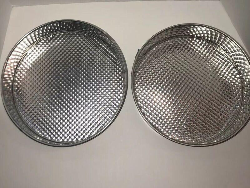 Vintage Set of 2 Waffle Bottom Buckle Side Springform Cake Bake Pan