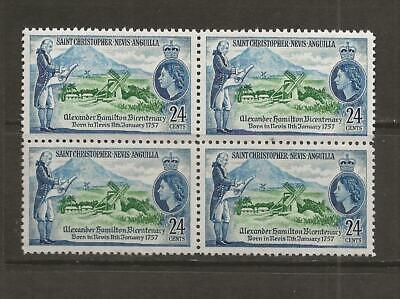 1957 MNH ST. KITTS BLOCK OF FOUR - SG 119 - SC0TT 135  - B21