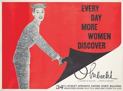Original Vintage Poster Ohrbach's New York Women Fashion Department Store 1950s