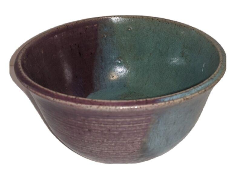 "Pottery Bowl Purple Blue Teal 6.5"" X 3.5"" Decorative Table Shelf Vintage Decor"