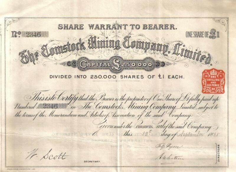 UK GB USA 1888 Comstock Mining Co Gold mines 1 share £1 Uncancelled coupons