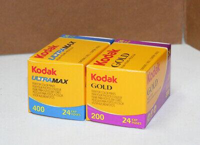 2 Pellicola 35mm Rullino fotografico Kodak Gold 200 Ultramax 400 asa 24 colore